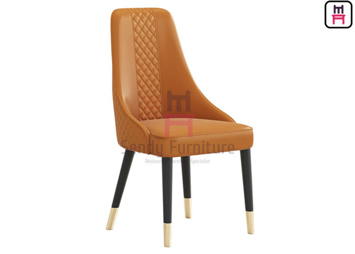 Custom Wood Restaurant Chairs Tufted Upholstered Micro Fiber Leather Armless Type High Back supplier