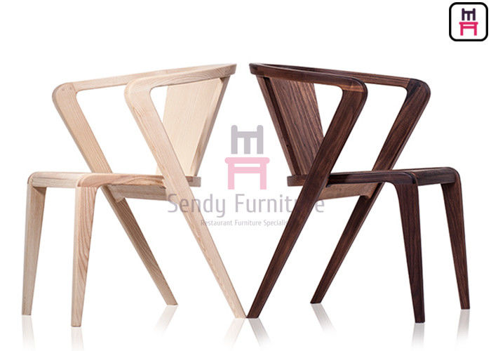 Z Shaped Wood Restaurant Chairs Crossed Arm Ash Indoor Usage With Armrests