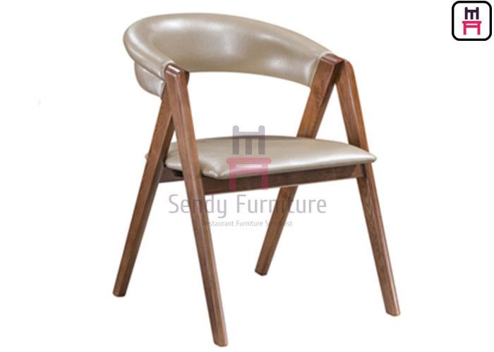 Upholstered Wood Restaurant Chairs Oak Wood Leather Soft Backrest With Crossed Armrests
