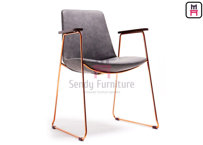 Rose Gold Armrest Stainless Steel Restaurant Chairs With Antique Leather Covered