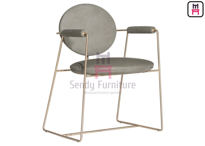 201 Stainless Steel Soft Armrest Dining Chair , Hotel Furniture Chairs Brown Leather