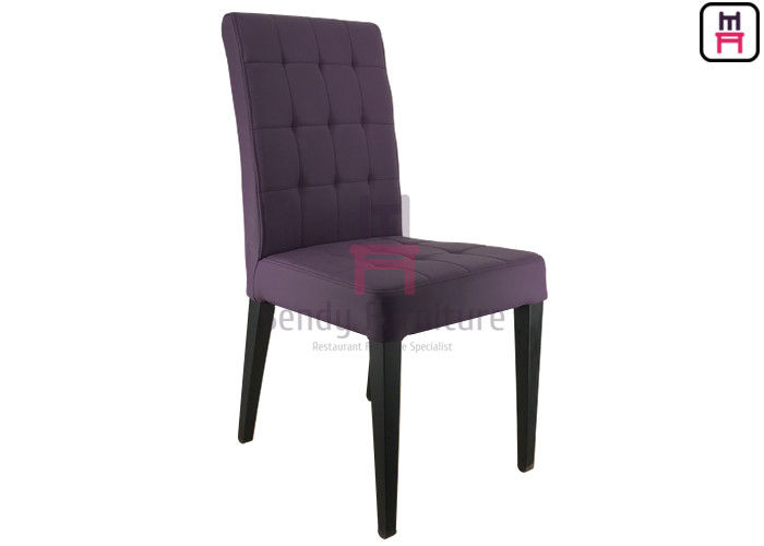 Purple Upholstered Leather Metal Kitchen Chairs With Square Pattern Stitching supplier