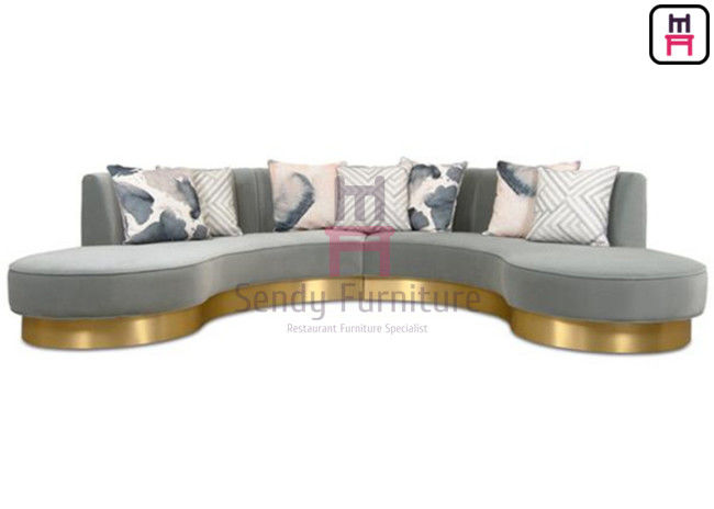 Endless Arch Shape Commercial Booth Seating , Upholstery Fabric Sofa With SS Base