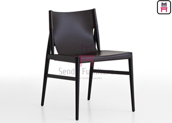 Dark Gray Color Wood Restaurant Chairs Saddle Leather Indoor Commercial Furniture supplier