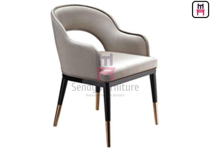 Gold Electroplating Feet Solid  Wood Restaurant Chairs , Hotel  Wood Leather Dining Chairs