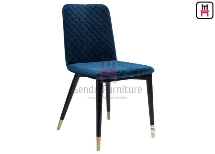 Firm Structure Solid Wood Restaurant Chair Rhombus Pattern Velvet With Armerest supplier