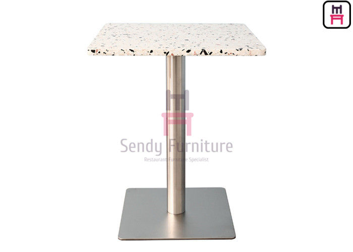 2cm Thickness Quartz Stone Restaurant Dining Table With Chrome Stainless Steel Base