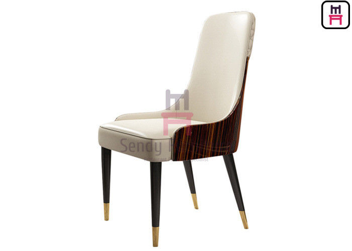 High Glossy Ebony Veneer Backrest with LOGO Hardware Fitting Wood Hotel Dining Chair