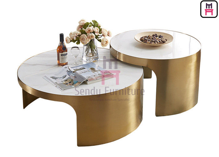 Round 60cm 70cm Stainless Steel Coffee Table 0.6cbm