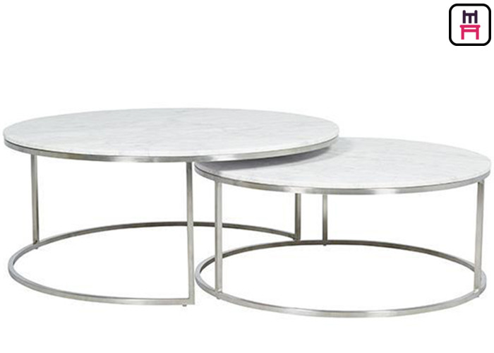 Custom Made Double Round Stainless Steel Coffee Table Marble Top For Salon Event