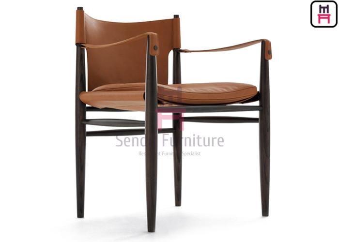 Ash Wood Frame Restaurant Dining Room Chairs Armrest Modern For Hotel Lobby