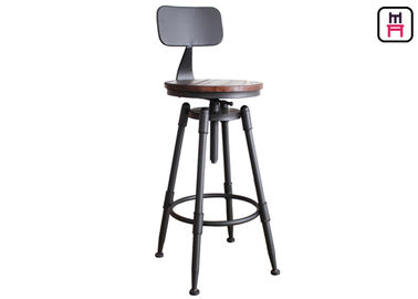 Loft Style Adjustable Metal Restsaurant Bar Stools Wood / Leather Seats Bar Chair