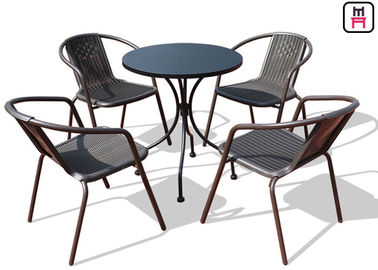 square round outdoor restaurant tables carbon steel weatherproof patio furniture - Outdoor Restaurant Furniture