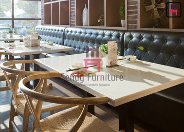 Leather Restaurant Sofa Set Fast Food Hotel Booth Sofa Diamond Button Decoration