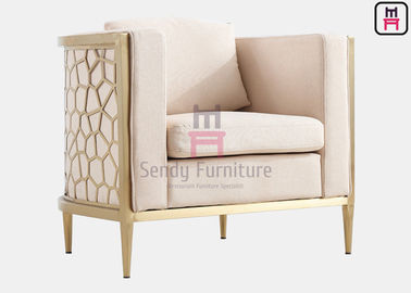 Ivory Leather Cushion Single Sofa Chair With Stainless Steel Carved Hollowed - Out Frame