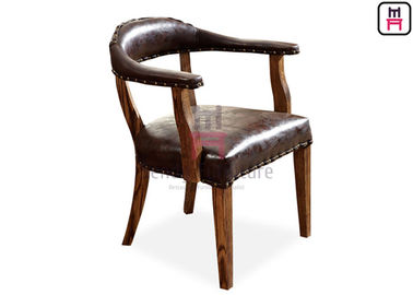 Brown Indoor Rustic Leather Chair / Sturdy Oak Wood Dining Chair With Armrest