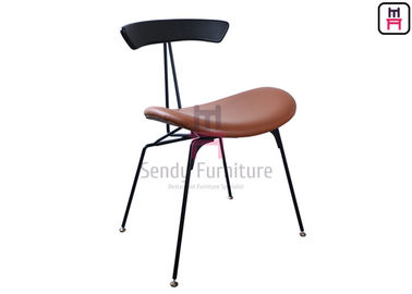Industrial Style Metal Restaurant Chairs Brown Leather Wires In Loft Retro Look