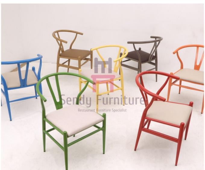 Hand Made Hotels Metal Restaurant Chairs Rope Seats Wood Grain Y Back