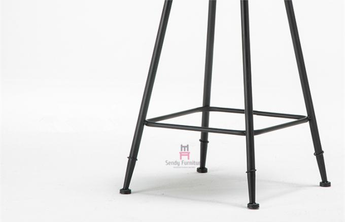 Simple Design Black Leather Bar Stools , Upholstered Metal Counter Height Stools