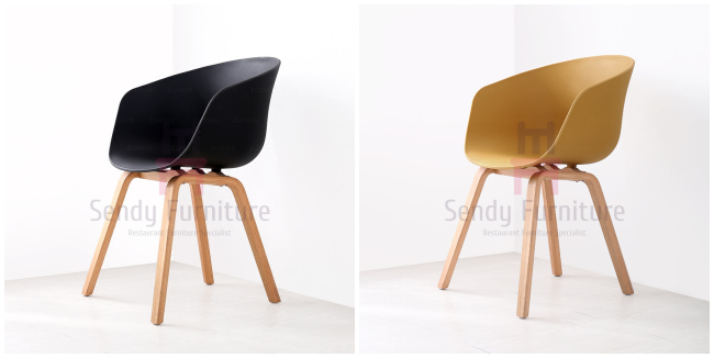 Recycled Plastic Restaurant Chairs With Armrest Modern PP Wood Frame Egg Office Chair