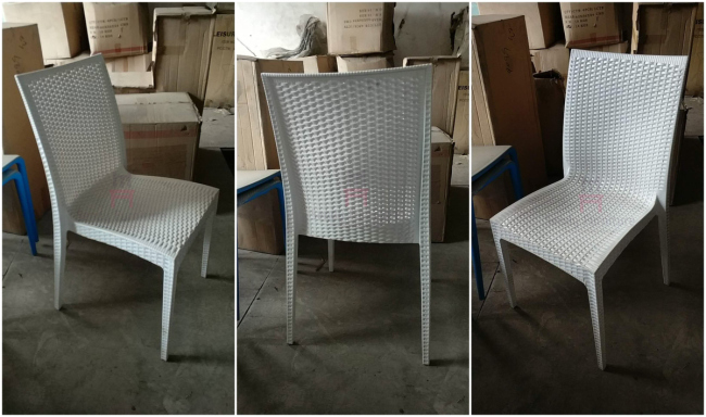 Stackable Indoor / Outdoor Plastic Restaurant Chairs Rattan Like PP Material