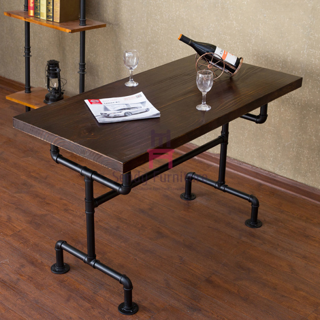 Cafe / Salon Modern Industrial Solid Wood Table For 4 Metal Tube Design