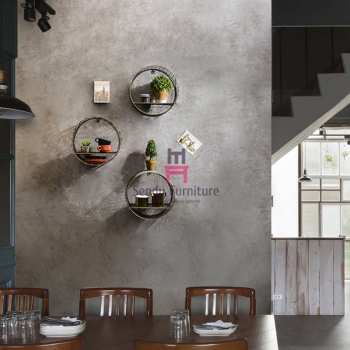Wall Mounted Storage Restaurant Wall Decor Retro Style Rustic Metal Round Shape