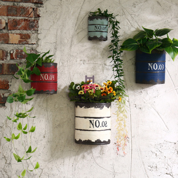 Loft Style Restaurant Wall Decor Wall Mounted Flowerpot Rustic Paint Bucket Design