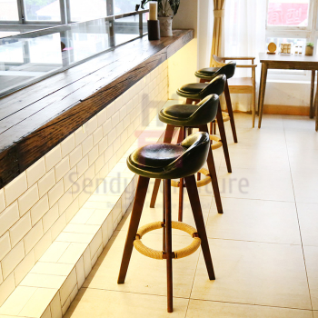 olid Wood Restaurant Bar Stools Soft Leather / Fabric Seater W50 * D37 * SH73cm S