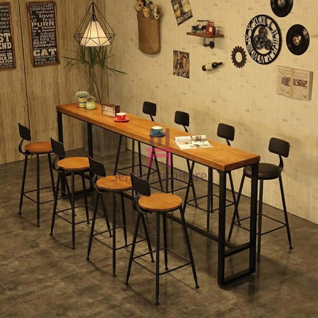 Industrial Metal Base Long Bar Height Table Solid Wood Top 120-300cm Length