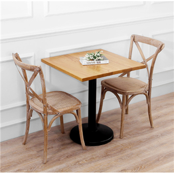 Wedding Event Romantic Wood Restaurant Chairs X back chair Rattan Seats / French Style