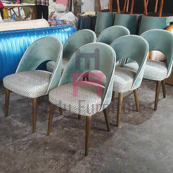Velvet Bowed Wood Restaurant Chairs