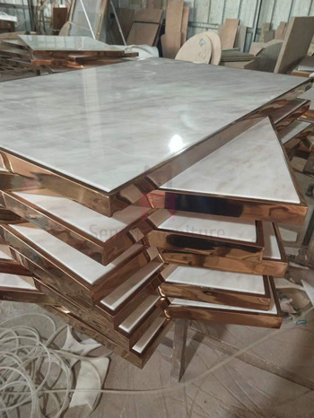 Stainless Steel Rose Golden Commercial Restaurant Tables Luxury Marble Top Inset