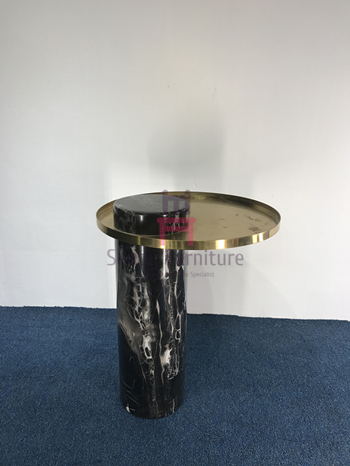 Modern Stylish Round Marble Coffee Table Stainless Steel Tray For Luxury Hotel