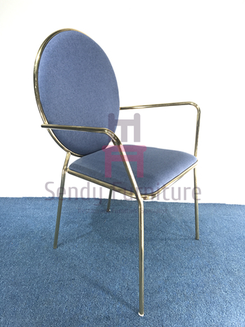 Luxury Round Back Stainless Steel Restaurant Chairs Velvet Arm With SS Frame