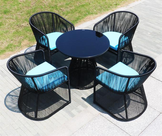 Aluminum Frame Outdoor Restaurant Tables , Black Rope Rattan Dining Chair With Armrest