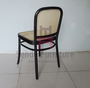 Garden Rattan Wood Restaurant Chairs With Black Lacquered Birch Wood Frame
