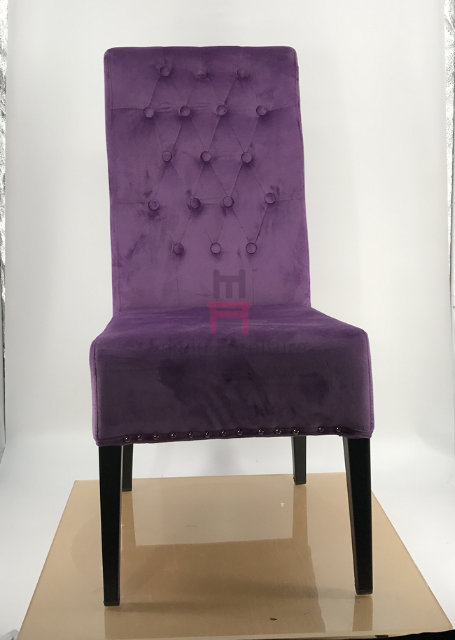 Featuring Button Velvet Metal Dining Chair Tufted High Back For Restaurant Hotel