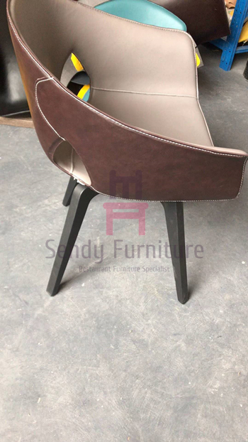 Swivel Tanned Leather Fiberglass Shell Chair Metal Base Seat Height Adjustable